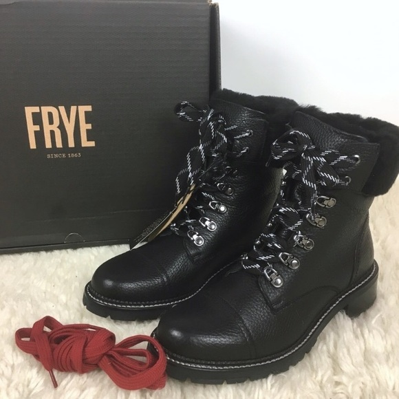 e2f1bcd30c1 Frye Samantha hiker combat boot shearling leather NWT